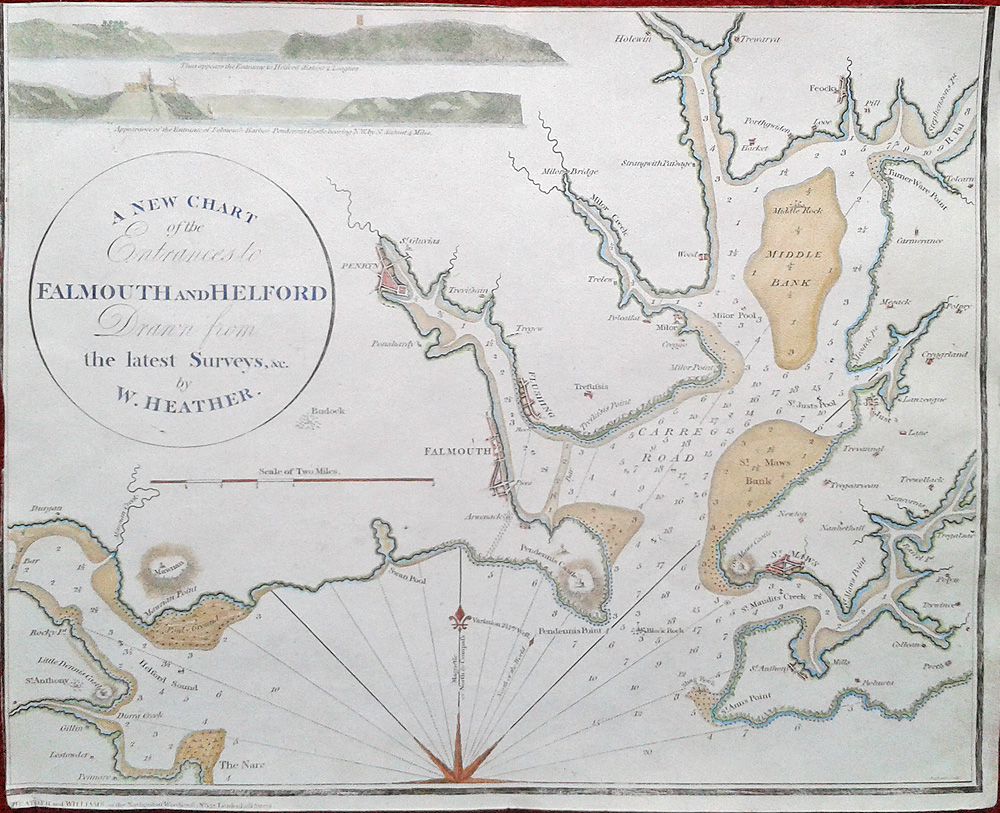 Antique chart of the River Fal
