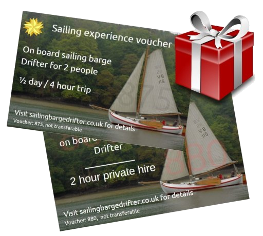 Sailing barge Drifter experience voucher